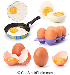 Raw, boiled and fried eggs isolated on white background...