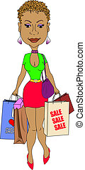 Sexy Shopping Lady - A sexy stylish Black lady with a short...