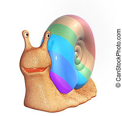 3d smiling snail with a multi-coloured bowl