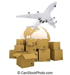 Earth, cardboard boxes and the plane Isolated 3d rendering