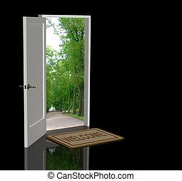 Welcome - Door open in the real world