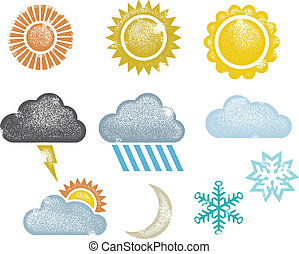 Distressed Weather Icons & Symbols - Collection of...