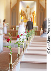 Wedding ceremony - Couple getting married in a church...