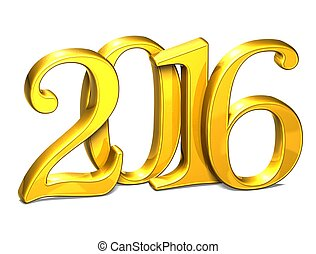 3D Gold Year 2016 on white background