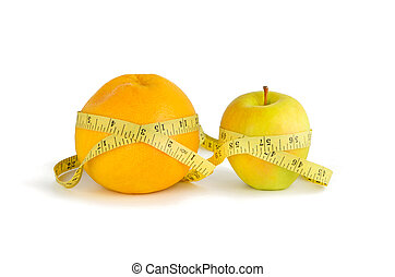 Measurement of orange and apple on a white background