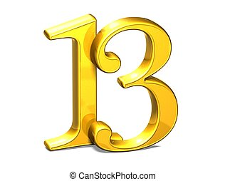 3D Gold Thirteen on white background