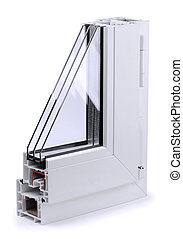 Window profile - Section of plastic window profile isolated...