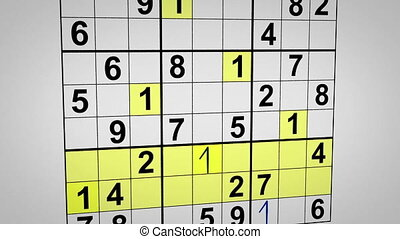 montage of solving sudoku puzzle. Computer generated...