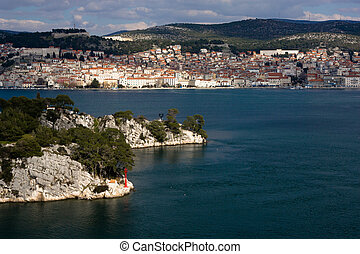 Sibenik town and st. Ante channel - Sibenik town and st....