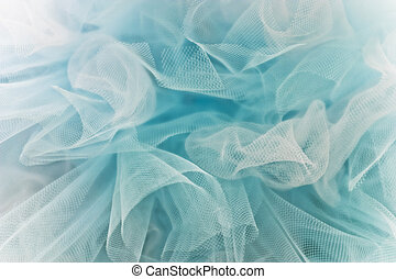 Blue Tulle - Full frame of light airy blue and white tulle