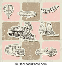 Vintage vector poster with different vehicles Vector...