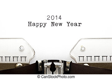 Happy New Year 2014 written on an old typewriter