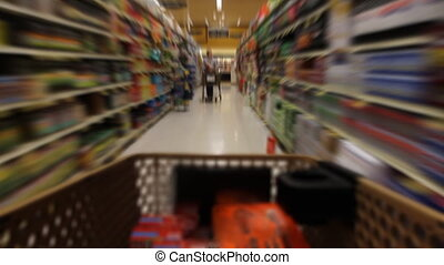 Filling Shopping Cart - Time Lapse of shopping cart moving...
