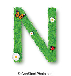 Grass Letter N on white background