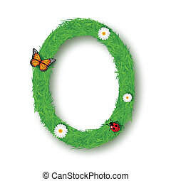 Grass Letter O on white background