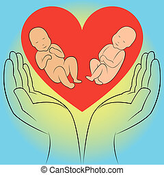 Two unborn babies in human hands on the heart background...
