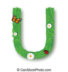 Grass Letter U on white background