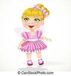 Little girl in a pink ballet skirt