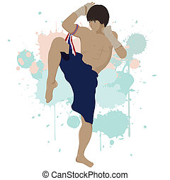 Thai boxing Muay Thai with splash graphic ,eps vector file