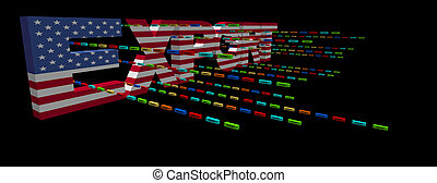 Export text with American flag and containers illustration