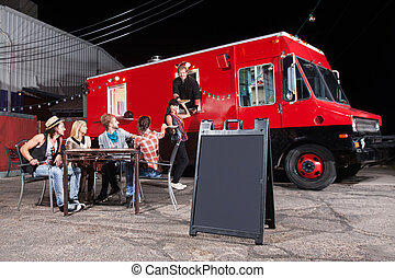 Happy Customers at Food Truck - Happy diners at food truck...