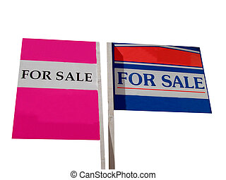 For sale signs - Two for sale signs isolated on white...