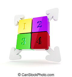 3d colorful squares with arrows in corners on white...