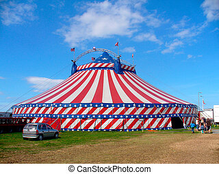 Day out at the circus - Circus big top tent in field...