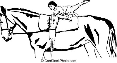 little girl vaulting on a horse
