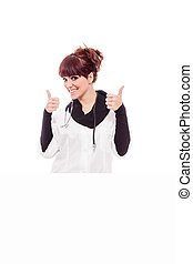 Smiling brunette female doctor with message board -...