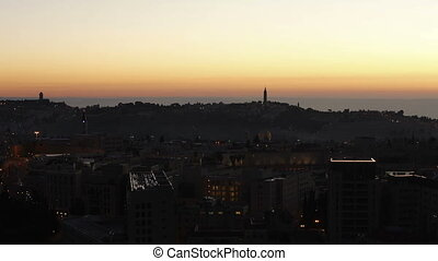 Sunrise above Old City Time Lapse, Jerusalem, Israel