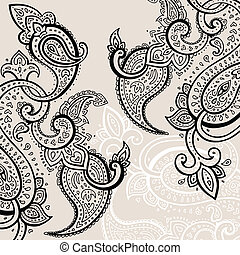 Hand Drawn Paisley ornament - Paisley background Hand Drawn...