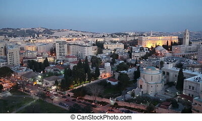 Evening Aerial View with Old City Wall, Jerusalem, Israel