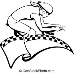 femme, courses, cycliste, drapeau