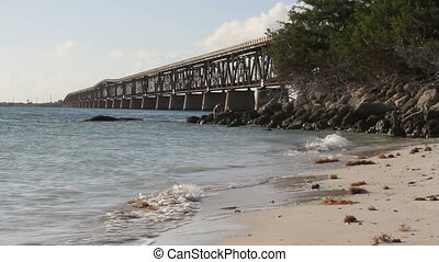 Beach and Bridge - The historical bridge at Bahia Honda...