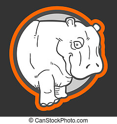 Sticker hippo - Creative design of sticker hippo