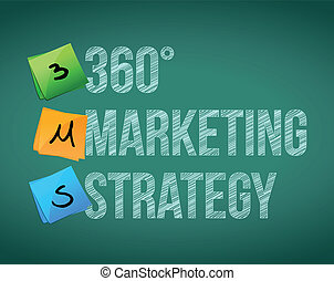 360 marketing strategy illustration design over a white...