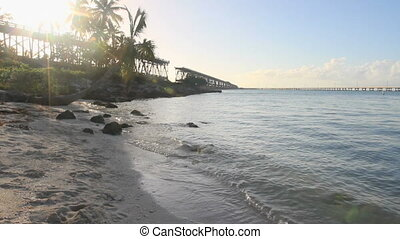 Beach at Sunset 1 - The historical bridge at Bahia Honda...