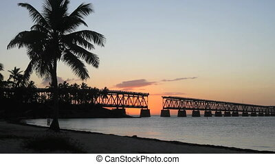 Beach at Sunset 2 - The historical bridge at Bahia Honda...