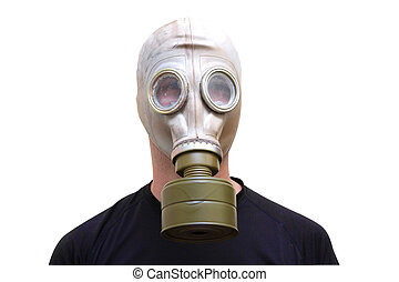 Man with old style gas mask isolated on white background, front view