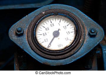 Old industrial pressure gauge