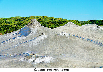 Mud volcanoes in Buzau, Romania. Natural gas and mud...