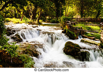 Waterfalls in the forest, Krka national park, Croatia