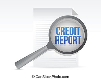 Credit Report and Magnifying Glass illustration design