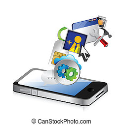 phone an colorful application icons isolated on white...