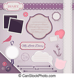 Scrapbooking Set: My Little Diary - frames, ribbons,...