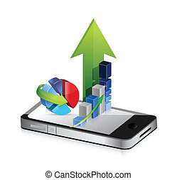 Business phone Smartphone business graph charts on a white...