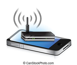 router smartphone illustration