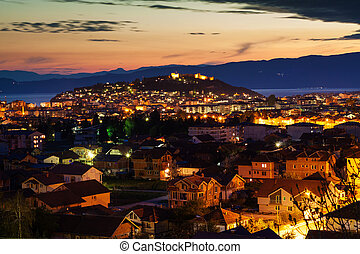 Night view of the city of Ohrid and the Samuils fortress,...