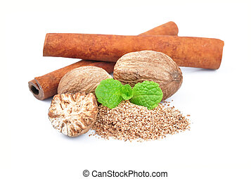 Cinnamon and nutmeg on a white background Spices